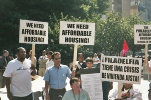 Philadelphia, Pennsylvania. Housing advocates petitioned for a housing trust fund and won their campaign in 2005.