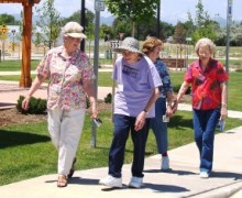 Friends enjoy a stroll at Marisol Senior Campus in Loveland, Colorado.