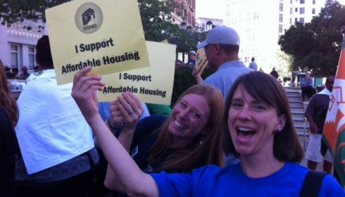 Community members rally for the Oakland Affordable Housing Trust Fund.