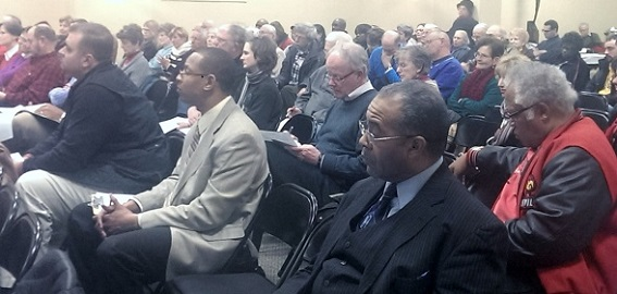150 community members attended BUILD's community forum on solving the affordable housing crisis in January.