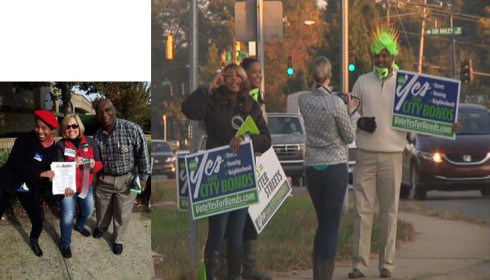 Charlotte Bond campaign advocates working the streets and selected busy intersections.