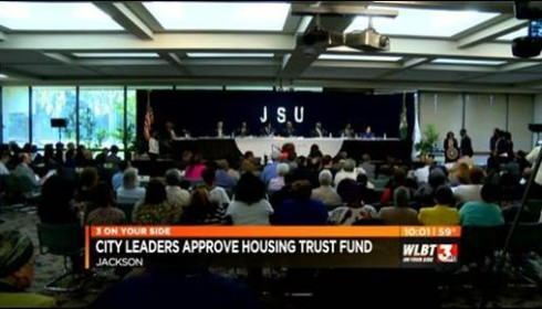 Jackson City Council members unanimously voted for the passage of the Jackson Housing Trust Fund in a crowded hearing room.