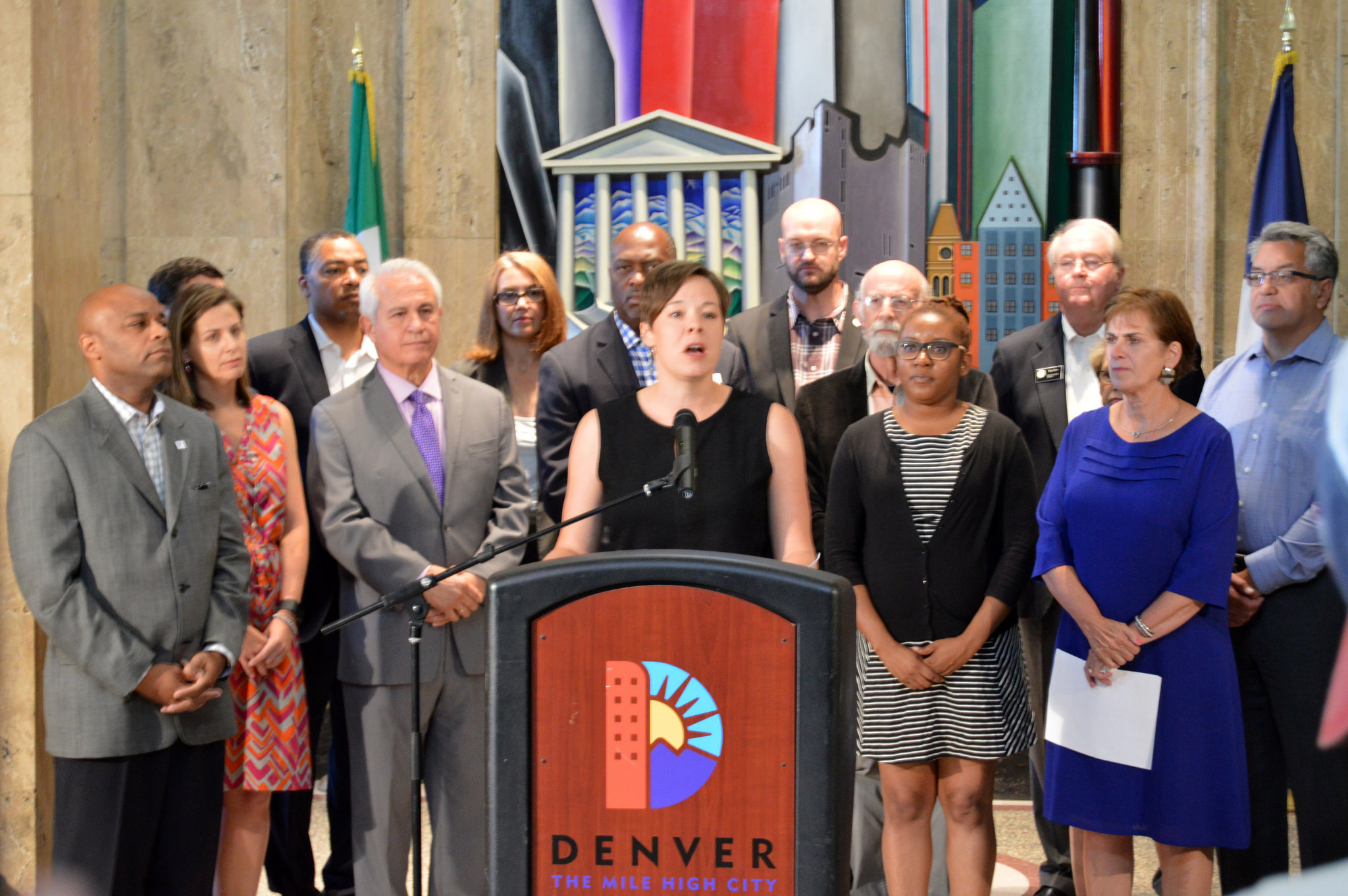 Councilwoman Robin Kniech, fellow Council members and core supporters announcing Denver's $150 million housing trust fund (photo courtesy of the Office of At-Large Councilwoman Robin Kniech)