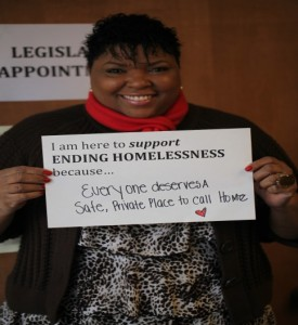 WLIHA homeless advocate at the capitol during the legislative session.