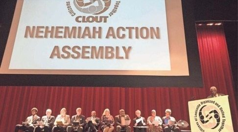 Community and religious leaders call for Metro Council commit revenue to the LAHTF to increase access to affordable homes for Louisville families at CLOUT's Annual Nehemiah Action Assembly. Photo from Jere Downs, Courier Journal.